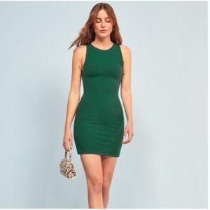 Reformation Kris Jersey Ribbed Emerald Dress Sz L
